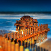 Buy canvas prints of caister groynes tiltshift by DSLR Creations