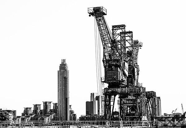 Battersea Cranes Mono Canvas print by DSLR Creations