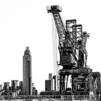 Buy canvas prints of Battersea Cranes Mono by DSLR Creations