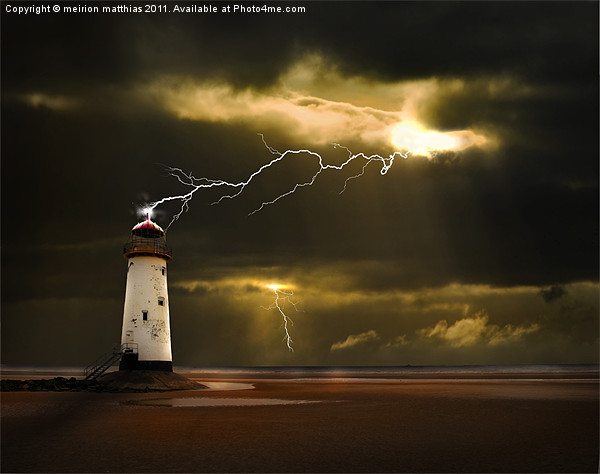 lighthouse and lightning storm Canvas print by meirion matthias
