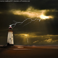 Buy canvas prints of lighthouse and lightning storm by meirion matthias