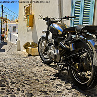 Buy canvas prints of royal enfield in greece by meirion matthias