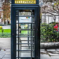 Buy canvas prints of Black phone box in London by Mandy Rice