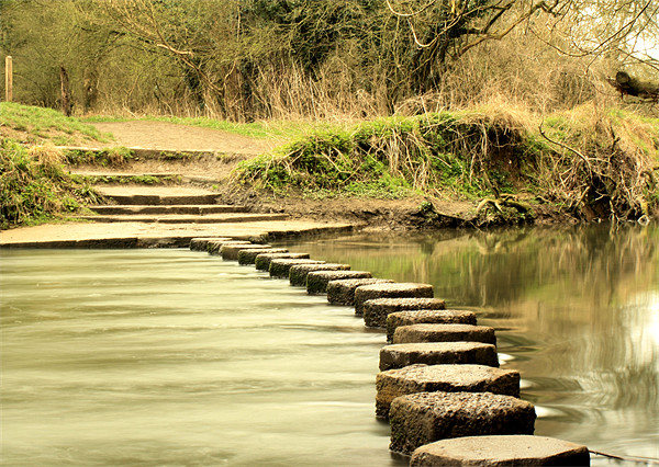 River Mole's stepping stones Framed Print by Sara Messenger
