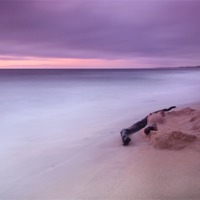Buy canvas prints of Monterey Beach Sunset by Chris Frost
