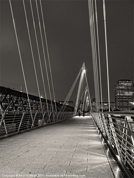 Hungerford Bridge at Night Print by Neal P