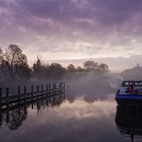 Buy canvas prints of  Misty Morning on the Thames by Neal Puttock