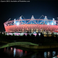 Buy canvas prints of Olympic Stadium by night by Caroline Opacic