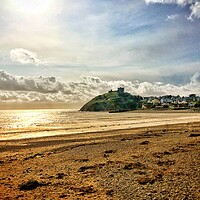 Buy canvas prints of Criccieth Beach Sunset by Rachael Jackson