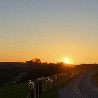 Buy canvas prints of Sunset At Coombe Gibbit by Andrew Middleton