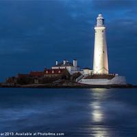 Buy canvas prints of Dusk at St Marys Lighthouse by John Dunbar