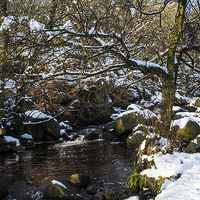 Buy canvas prints of  Burbage Brook in Winter by John Dunbar