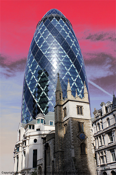 The Gherkin, London Canvas print by Jasna Buncic