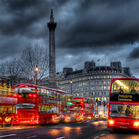 Buy canvas prints of London red buses by Jasna Buncic