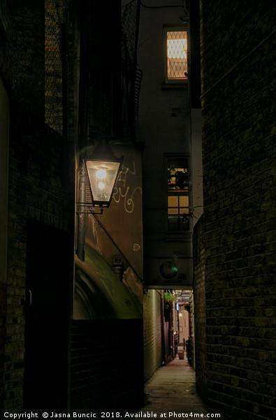 Dark Alley London Canvas print by Jasna Buncic
