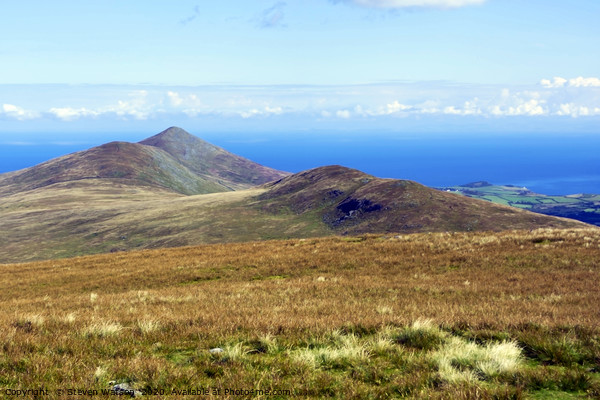North Barrule from Snaefell Summit Canvas Print by Steven Watson