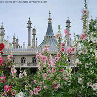 Buy canvas prints of BRIGHTON PAVILION THROUGH THE HOLLYHOCKS by Helen Cullens