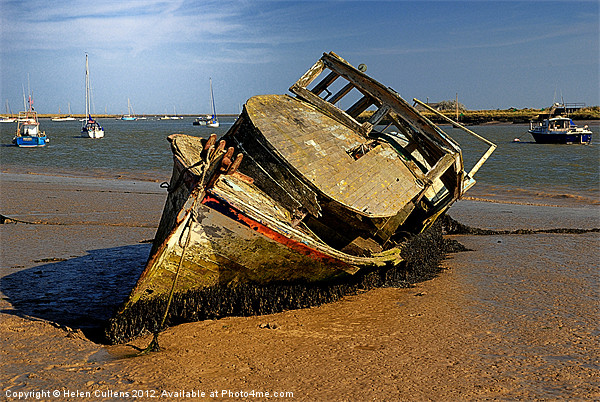 DERELICT BOAT Canvas print by Helen Cullens