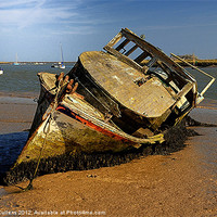 Buy canvas prints of DERELICT BOAT by Helen Cullens