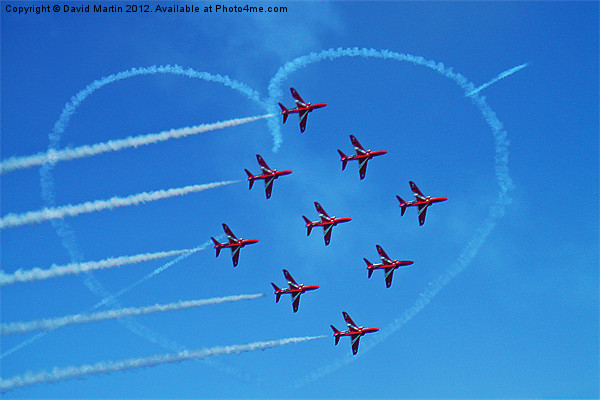 red arrows love Heart Framed Mounted Print by David Martin