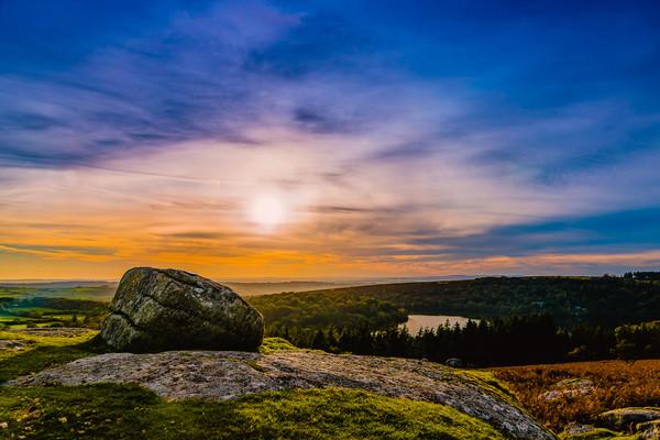 Burrator sunset Framed Mounted Print by David Martin