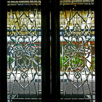 Buy canvas prints of Antique Lead Glass Doors by Mark Sellers