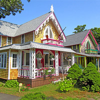 Buy canvas prints of Oak Bluffs Gingerbread Cottages (3) by Mark Sellers