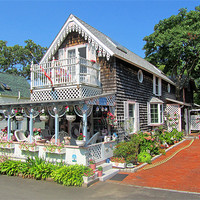 Buy canvas prints of Oak Bluffs Gingerbread Cottages (9) by Mark Sellers
