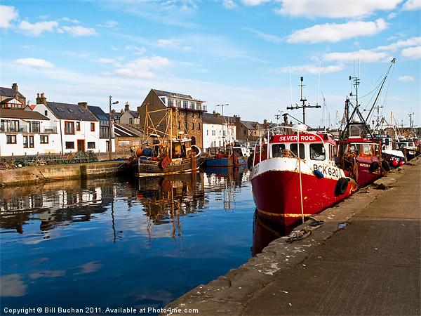 Burghead Harbour Summer Boats Canvas Print by Bill Buchan