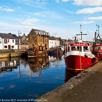 Buy canvas prints of Burghead Harbour Summer Boats by Bill Buchan