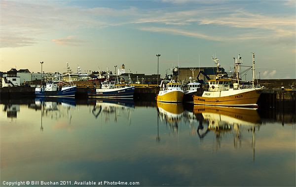 Fraserburgh Yellow and Blue Boats Canvas Print by Bill Buchan