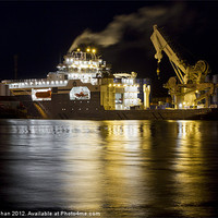 Buy canvas prints of Oil Ships At Night Aberdeen by Bill Buchan