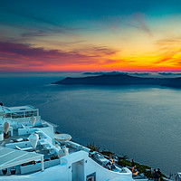Buy canvas prints of Santorini Sunset by Bill Buchan
