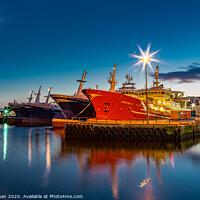 Buy canvas prints of Fraserburgh Super Trawlers At Night by Bill Buchan