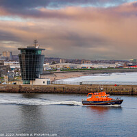 Buy canvas prints of Aberdeen Lifeboat Leaves Port by Bill Buchan
