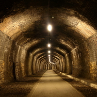 Buy canvas prints of  Cressbrook Tunnel, Monsal Trail, Derbyshire by Chris Petty