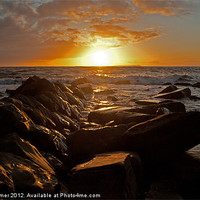 Buy canvas prints of A vivid kimmeridge sunset by gordon dimmer
