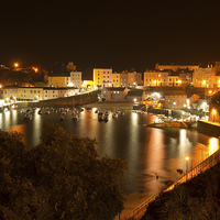 Buy canvas prints of  Tenby Harbour at Night by gordon dimmer