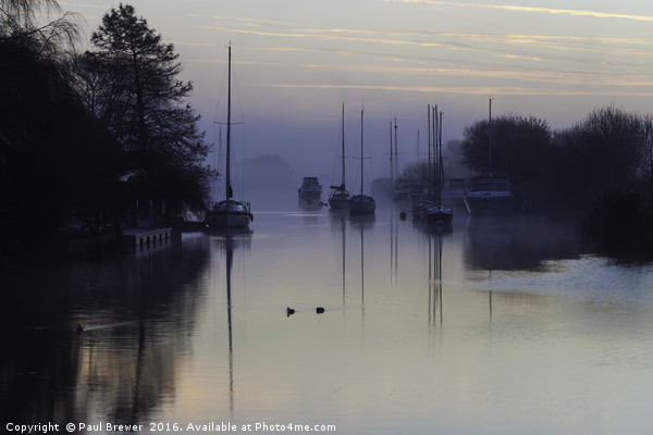 Wareham on a Misty Morning Framed Mounted Print by Paul Brewer