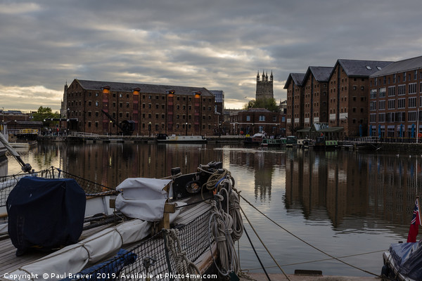 Gloucester Docks and Gloucester Cathedral Canvas print by Paul Brewer