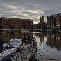 Buy canvas prints of Gloucester Docks and Gloucester Cathedral by Paul Brewer