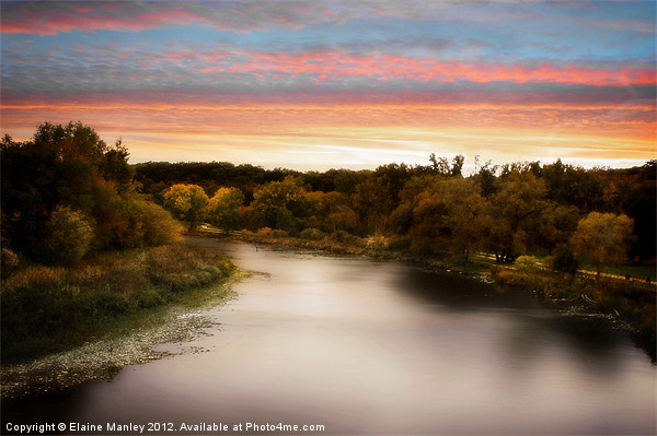 Sunset River Canvas print by Elaine Manley
