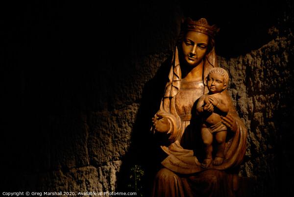 Madonna and Jesus statue illuminated Canvas Print by Greg Marshall