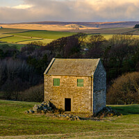 Buy canvas prints of Yorkshire Barn Evening Sunset in The Pennines by Greg Marshall