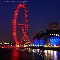 Buy canvas prints of The London Eye at Night by Iona Semay