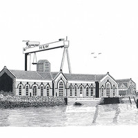 Buy canvas prints of The Pump House, Titanic Quarter by Gordon and Gillian McFarland