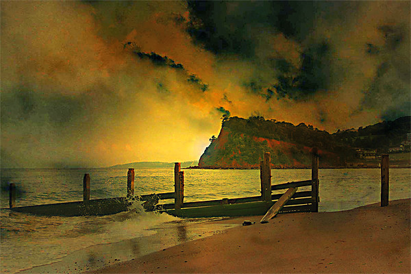 Shaldon cliffs Canvas print by kevin wise