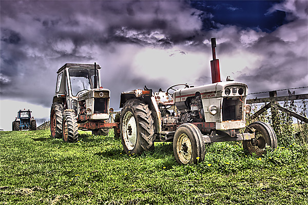 Three Tractors Canvas print by kevin wise