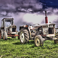 Buy canvas prints of Three Tractors by kevin wise