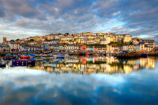 Brixham reflection Canvas Print by kevin wise